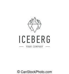 Iceberg triangle of cold mountain abstract and logo design or template hill business icon of company identity symbol concept. Iceberg,