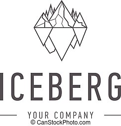Iceberg triangle of cold mountain abstract vector and logo design or template hill business icon of company identity symbol concept. Iceberg,