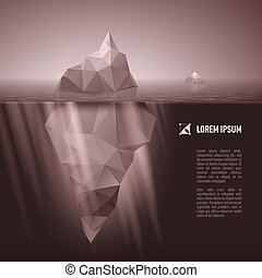 Iceberg under water - Dark grey iceberg drifting in the sea.