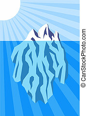 Iceberg - Vector illustration of iceberg floating in water