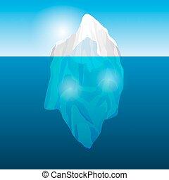 iceberg, vector, océano