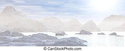 icebergs, -, 3d, render