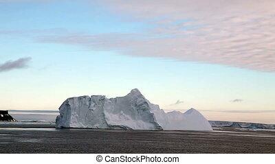 Icebergs in Antarctica at Dusk
