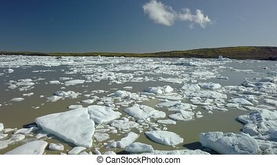 Icebergs in Iceland - Icebergs floating in a glacial lake...