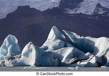 Icebergs in Jokulsarlon glacier lagoon in the south of Iceland