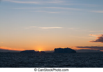 Icebergs in the evening light