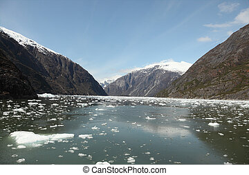 Icebergs & Mountains - A stock photo of some icebergs and...