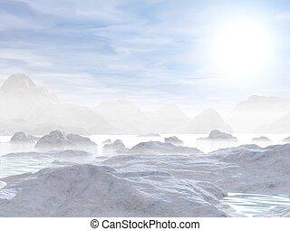 icebergs, -, render, 3d