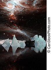 Icebergs under the Milky way.