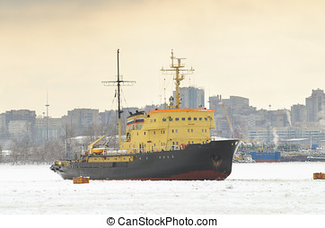 Icebreaker in the port at anchor.