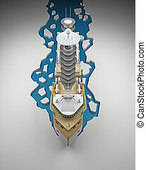 Icebreaker top view from the front. 3d rendering