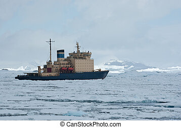 icebreaker which floats on the frozen Strait spring Antarctic mo