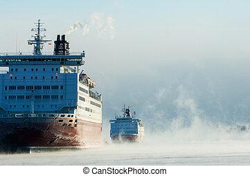 Icebreaking ferries arriving at Helsinki port in the...