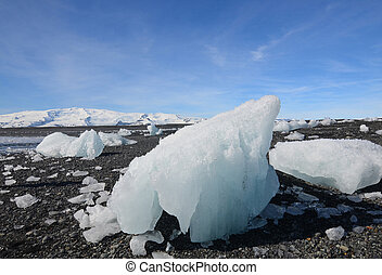 Iceburgs on a black sand beach in Iceland
