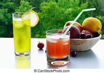 Icecold fruit lemonade in glasses