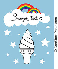 Icecream cone with cloud and rainbow on sky and star falling