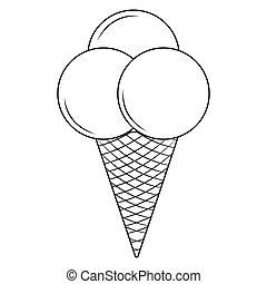 icecream, contorno, delizioso