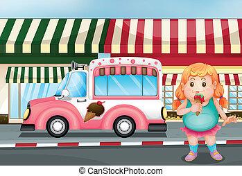 icecream, dziewczyna, jedzenie, młody, tłuszcz