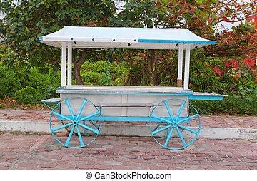 Icecream hot dogs cart white blue in Caribbean island - Ice...