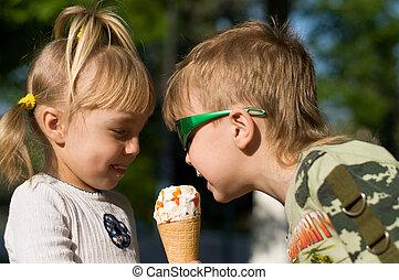 icecream, kinder, essen