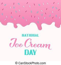 icecream., menú, feriado, crema, divertido, letras, mano, ...