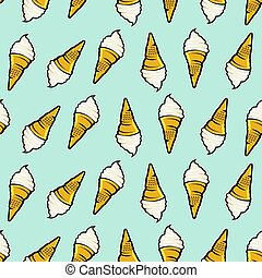 icecream seamless pattern. Hand drawn retro style.