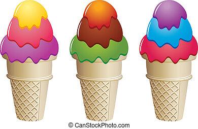 icecream, wektor, stożki, barwny
