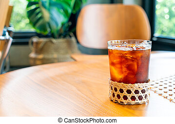 iced americano coffee glass in coffee shop cafe restaurant