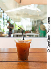 iced americano coffee in coffee shop cafe restaurant