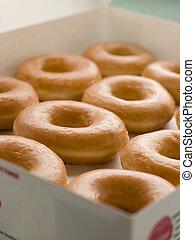 iced, beugel doughnuts, in, een, blad