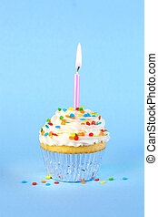 Iced birthday cupcake with with lit candle and sprinkles
