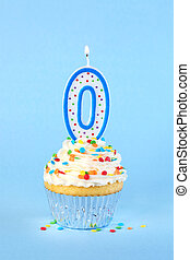 Iced birthday cupcake with with lit number 0 candle and sprinkles