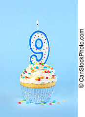 Iced birthday cupcake with with lit number 9 candle and sprinkles
