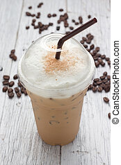 iced blended frappucino, coffee beans