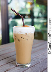 Iced Cappuccino (ice coffee) - Iced coffee on a wooden table...