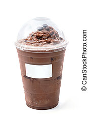 Iced chocolate with coffee bean in takeaway cup on white background