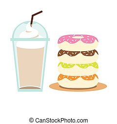 Iced Coffee and Donuts.