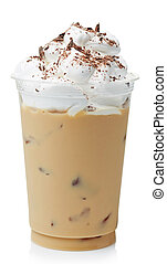 Iced coffee covered with whipped cream in plastic glass...