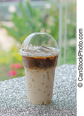 Iced coffee for take aways - close up Iced coffee in plastic...
