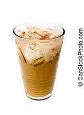 Iced coffee - Ice coffee on white background.
