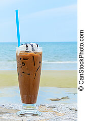 iced coffee - Iced coffee on the beach