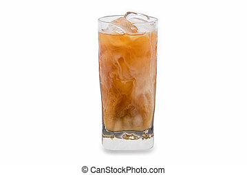 Iced coffee in a glass isolated and white background