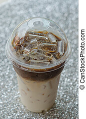 Iced coffee  in plastic cup for take aways