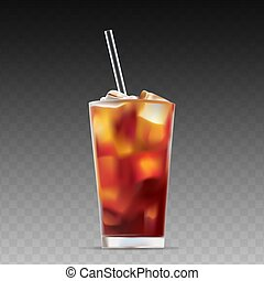 Iced coffee isolated on transparent background