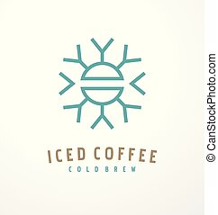 Iced coffee logo design template with coffee bean and ...