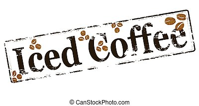Rubber stamp with text iced coffee inside, vector illustration