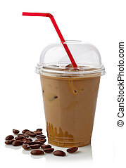 Iced coffee in plastic glass with straw isolated on white...