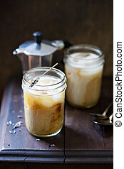 Iced coffee with lavender infused cream - Iced coffee with...