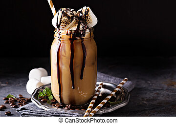 Iced coffee with toasted marshmallow and chocolate syrup