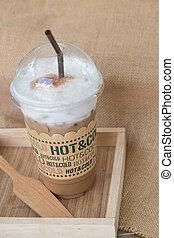 iced koffie, mocha, met, ijs, in, plastic kop
